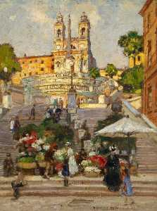 Heinrich Hermanns - Flower Market at the Spanish Steps in Rome