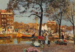 Heinrich Hermanns - The Flower Market, Amsterdam
