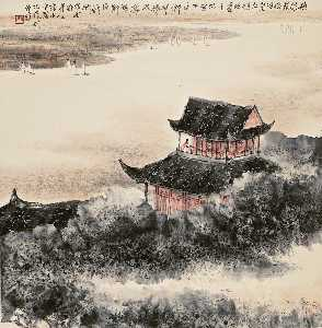 He Huaishuo - Gazing at the River in Pavilion