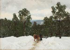 Olof Arborelius - A Horse Drawn Sleigh in a Winter Landscape