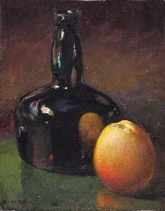 William Henry Holmes - Still Life Apples and Bottle