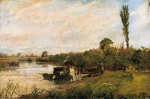 Richard Jack - River Scene with Jetty