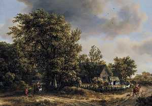 Meyndert Hobbema - Wooded Landscape with Travellers