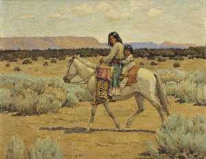 Carl Moon - Apache Mother and Children on Horseback