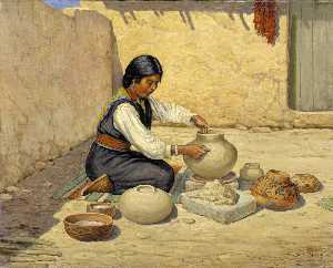 Carl Moon - Hopi Woman Making Pottery