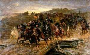 John Charlton - French Artillery Crossing the Flooded Aisne and Saving the Guns
