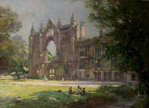Arthur Spooner - Newstead Abbey, Nottinghamshire, View from the Lawn, with Figures in Sunlight and Shade