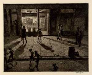 Martin Lewis - Spring Night, Greenwich Village