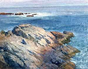 Horace G Hewes - (Maine Coastline from Rocky Point Looking at the Sea), (painting)