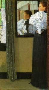 Julian Alden Weir - Face Reflected in a Mirror