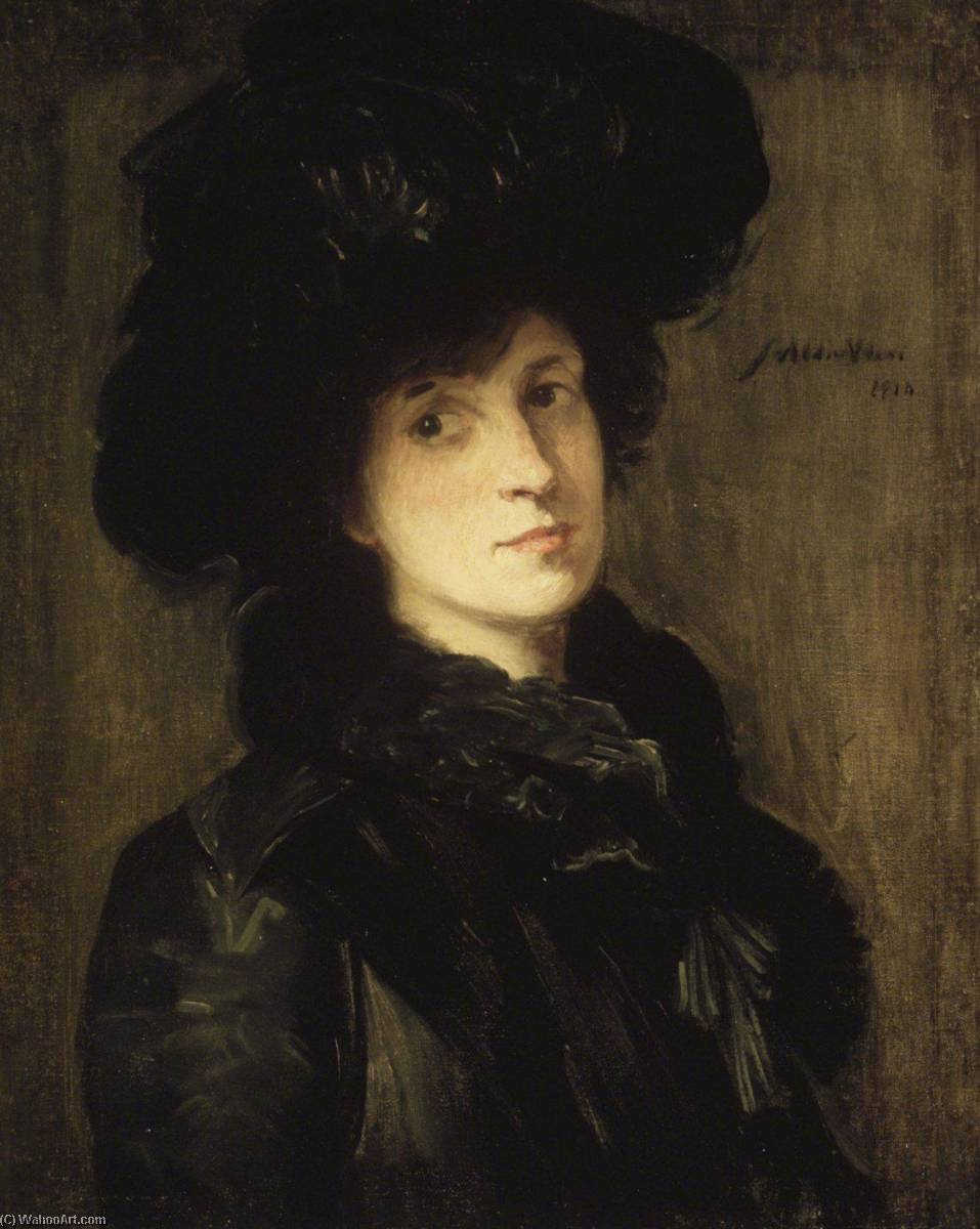 famous painting Girl in Black of Julian Alden Weir
