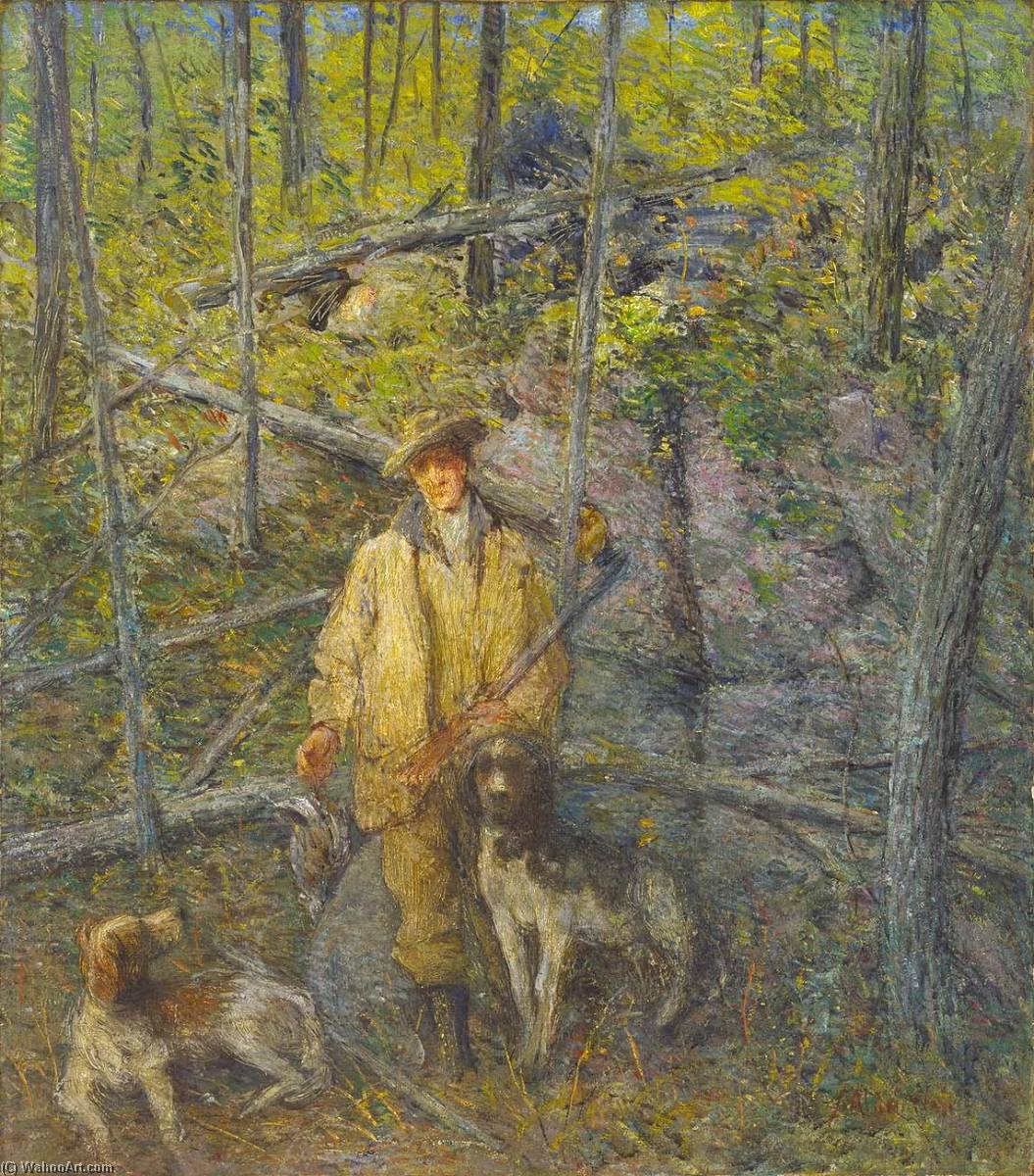 famous painting Hunter and Dogs of Julian Alden Weir