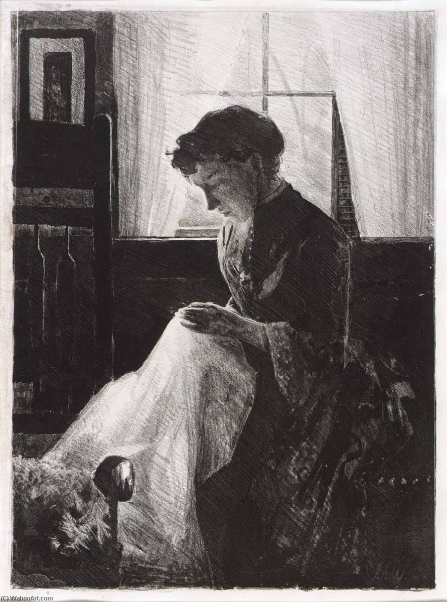famous painting Profile Portrait of a Woman Sewing of Julian Alden Weir