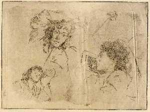 Julian Alden Weir - Three Heads Sketches