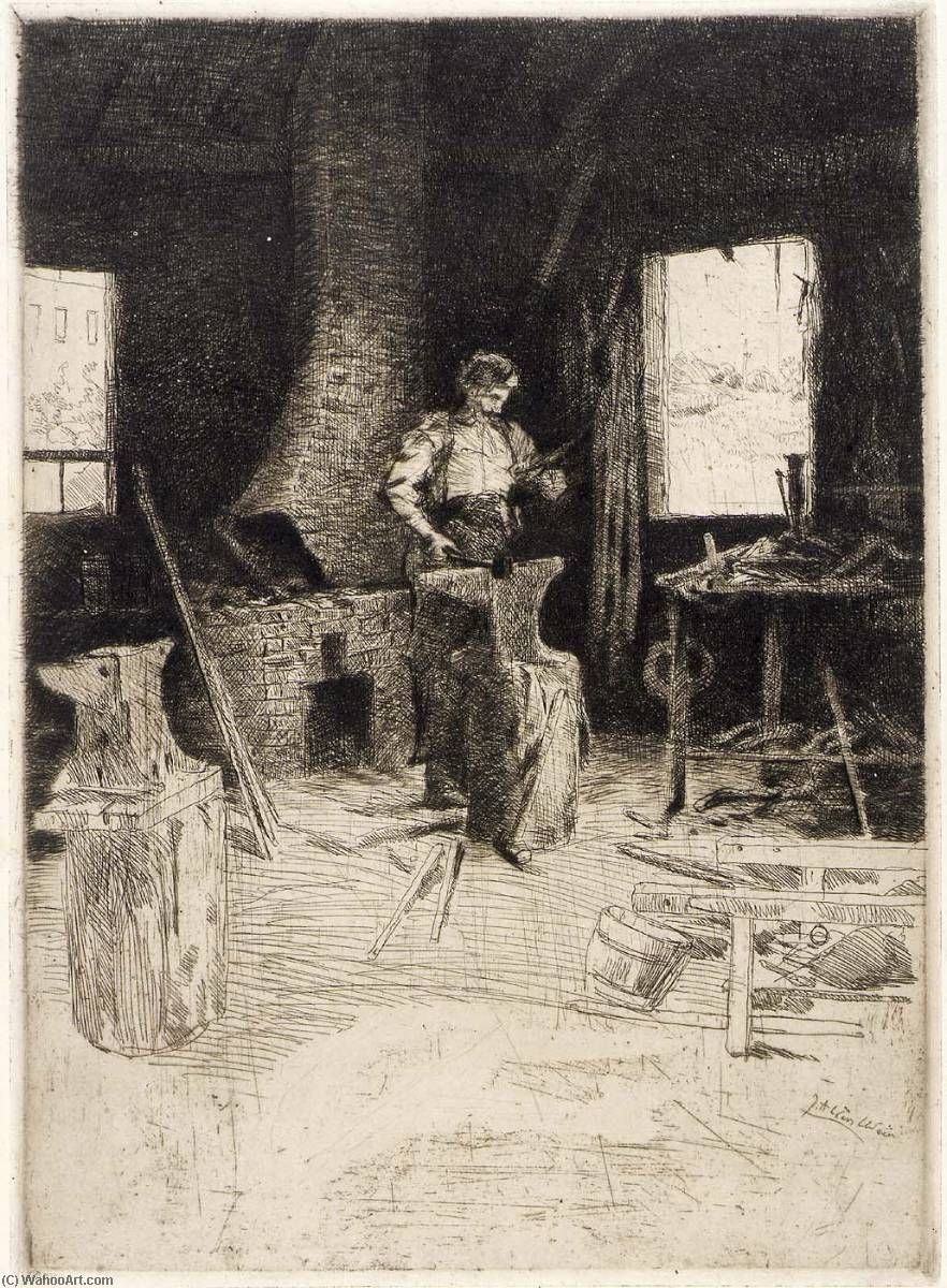 famous painting The Blacksmith's Shop of Julian Alden Weir