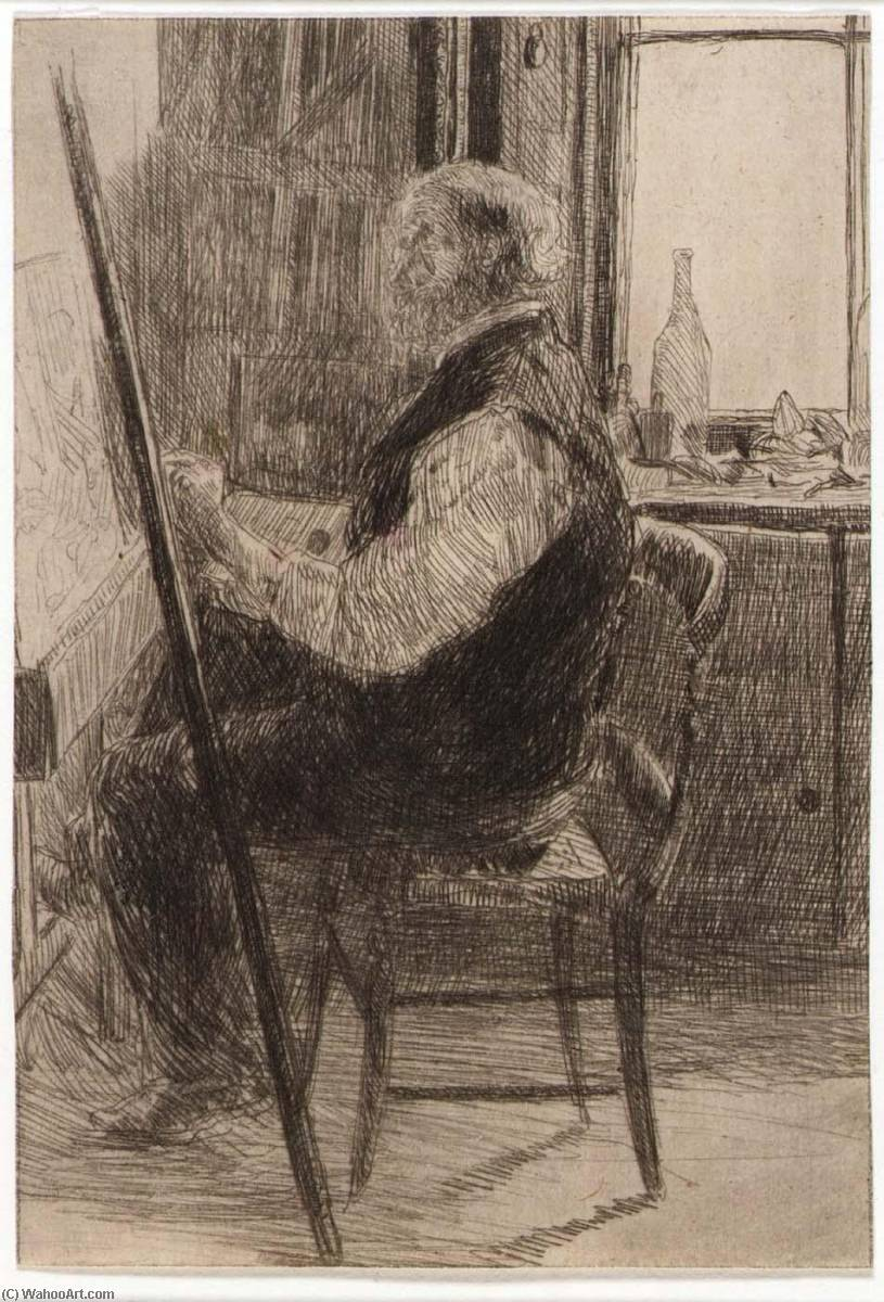 famous painting Artist Seated at Easel of Julian Alden Weir