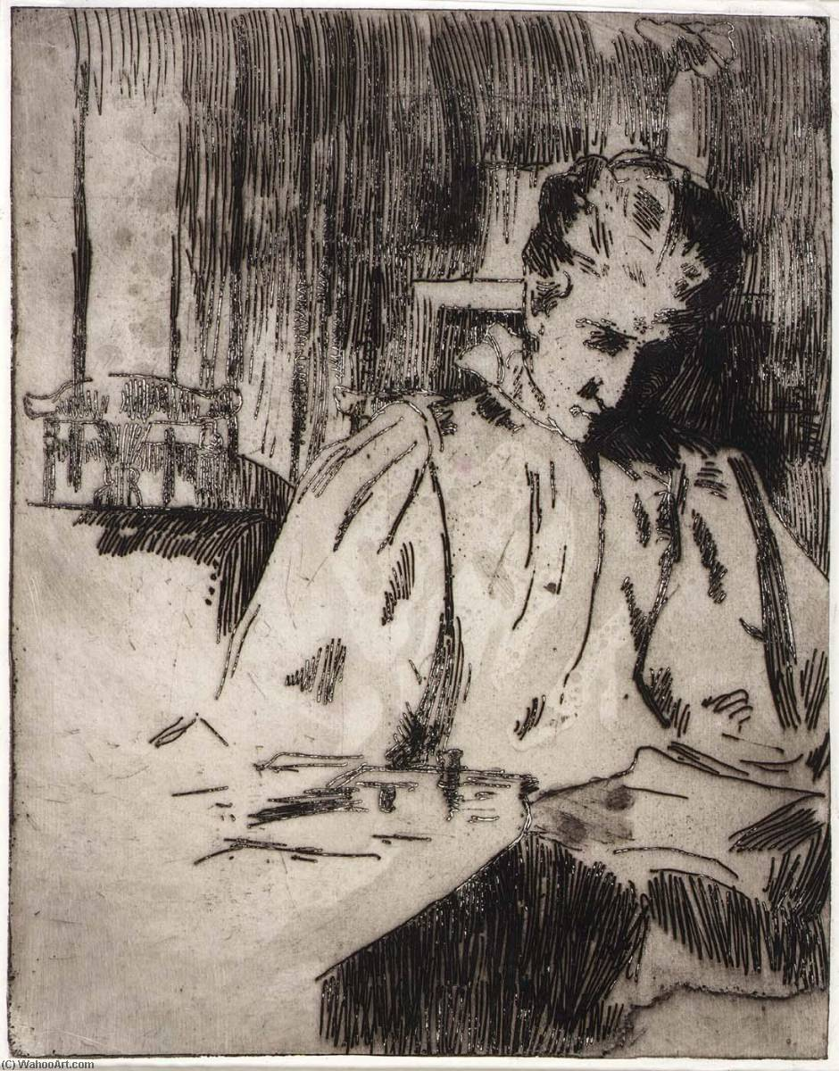 famous painting Woman Reading of Julian Alden Weir