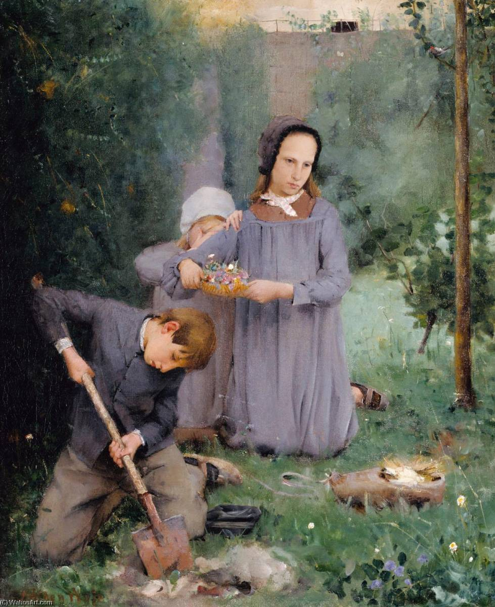 famous painting Children Burying a Bird of Julian Alden Weir