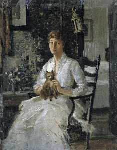 Julian Alden Weir - Portrait of a Lady with a Dog (Anna Baker Weir)