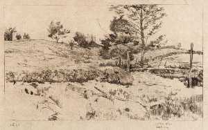 Julian Alden Weir - Landscape (Sketch of Fields)