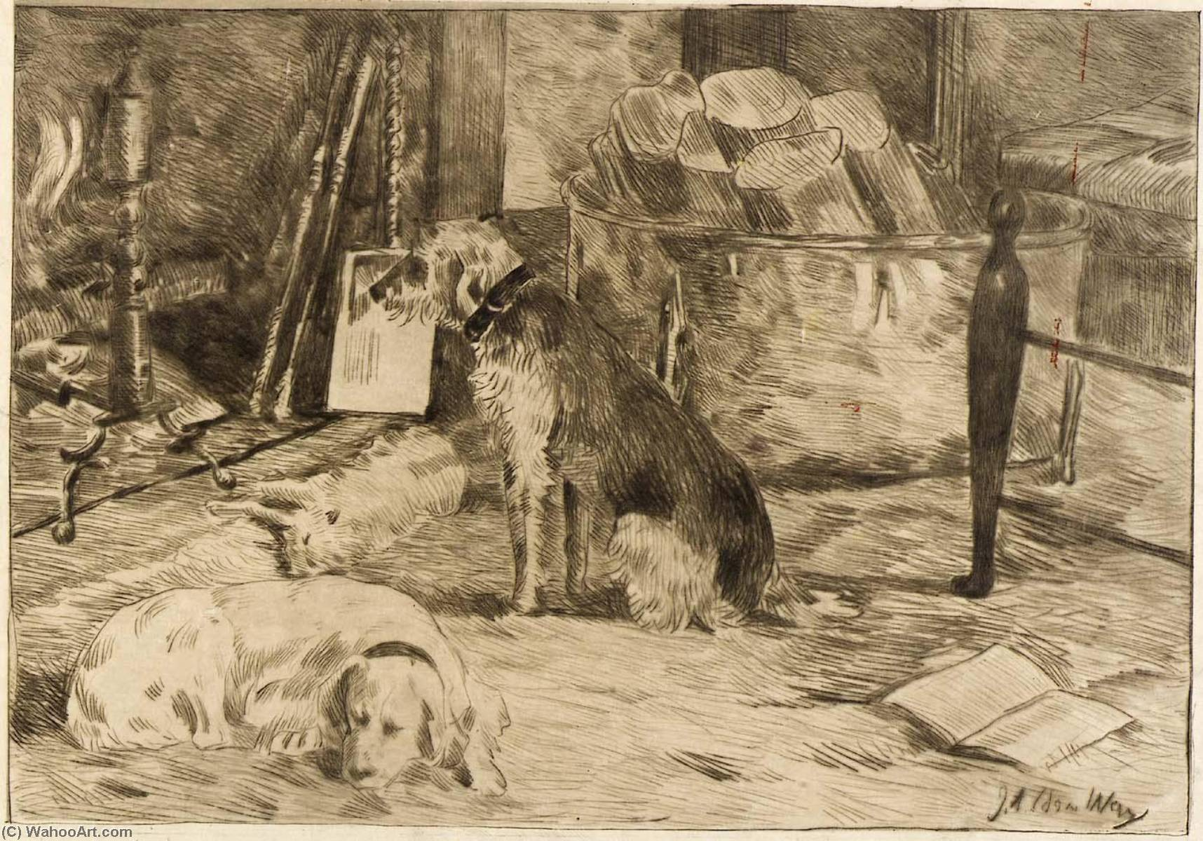 famous painting Dogs on the Hearth no. 1 of Julian Alden Weir