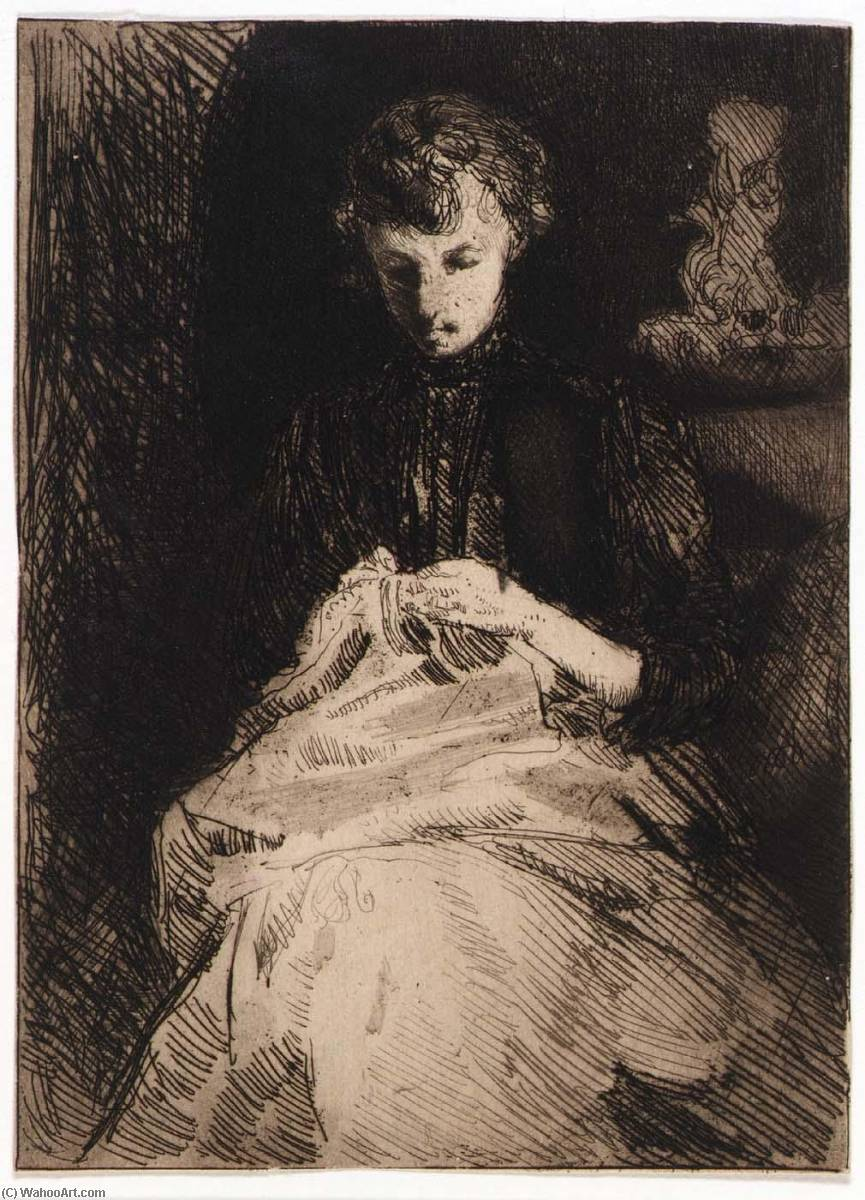famous painting Woman Seated Sewing of Julian Alden Weir