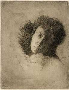 Julian Alden Weir - Study of a Woman's Head