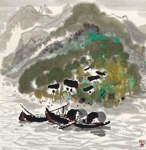 Wu Guanzhong - A FAMILY BY THE GORGE
