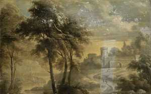 James Norie - Fortified Building with Trees and Figures