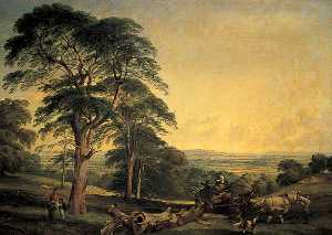 Edward John Cobbett - A Woodland Scene with a Wagon Drawn by Two Horses