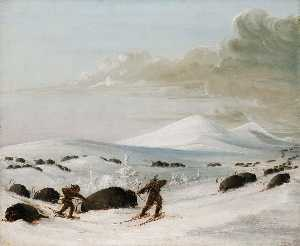 George Catlin - Buffalo Chase in Snowdrifts, Indians Pursuing on Snowshoes