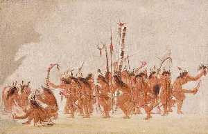 George Catlin - Braves' Dance, Ojibwa