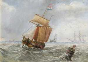 William Richard Bunting - Two Masted Ship at Sea