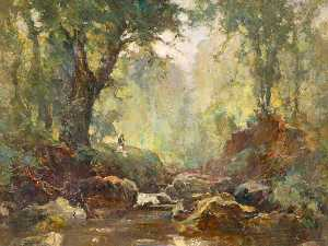 William Gibbes Mackenzie - River Landscape (possibly Bryansford or Crawfordsburn )