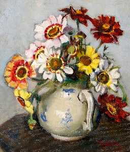 Rose Mead - Summer Chrysanthemums in a Blue Flowered Jug