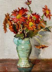 Rose Mead - Asters in a Green Vase