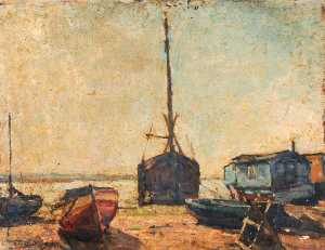 Edward Robert King - Houseboats at Milton with a Dinghy and Sawhorse in the Foreground