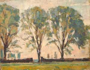 Edward Robert King - Trees by a Wall
