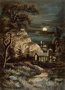 Alfred Worthington - Church by Moonlight
