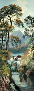 Alfred Worthington - Mountain, Lake and Stream