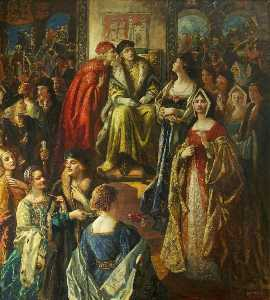 Thomas Edwin Mostyn - King Henry VII Fining the Citizens of Bristol Because Their Wives Were So Finely Dressed, 1490