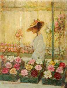 Benjamin Haughton - Woman in a Conservatory with Roses