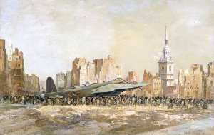 Charles Ernest Cundall - Stirling Bomber, Bow Church, London