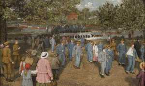 Ethel Walker - Convalescent Soldiers Arriving by Boat on the Thames, En Route for the Hospital in the Grounds at Cliveden, Berkshire