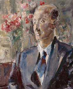 Ethel Walker - Portrait of a Man with Flowers in the Background