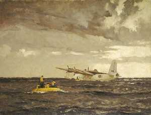 Norman Wilkinson - A Sunderland Flying Boat Rescuing the Crew of a Liberator
