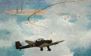 Charles David Cobb - Malta under Air Attack by Junkers 87 Dive Bombers