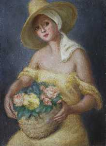 Georges Van Houten - Lady in Yellow Carrying a Basket of Flowers