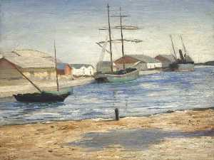 Georges Van Houten - Tidal River with Boats