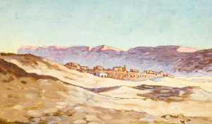 Myrtle Broome - Arab Village with Mountains Beyond